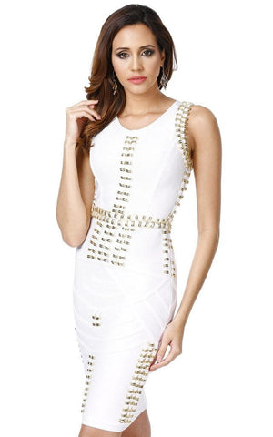 Beautiful White Studded Bandage Dress
