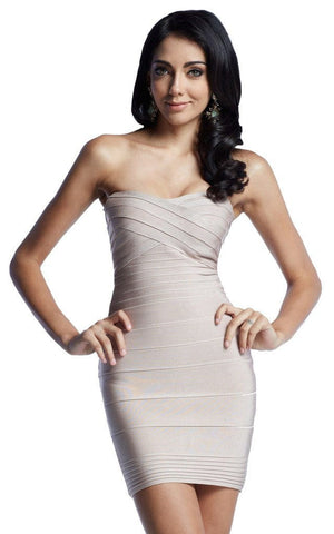 Beige Criss Cross Front Strapless Bandage Dress