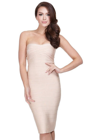 Beige Midi Bandage Open Dress