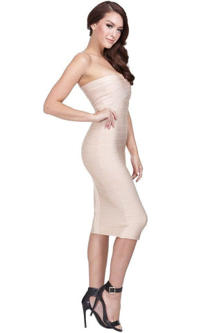Nude Bandage Strapless Midi Dress