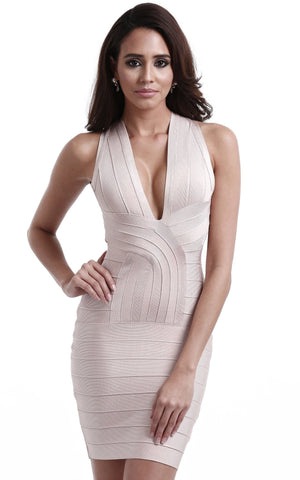 Beige Sexy Back Cross Bandage Dress