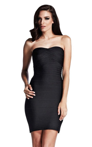 Black Bandeau Strapless Bodycon Bandage Dress (S, M)