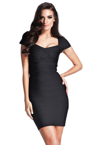 Black Classic Cap Sleeve Bandage Dress (XS, S)