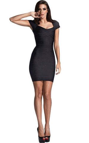 Black Classic Cap Sleeve Bandage Dress
