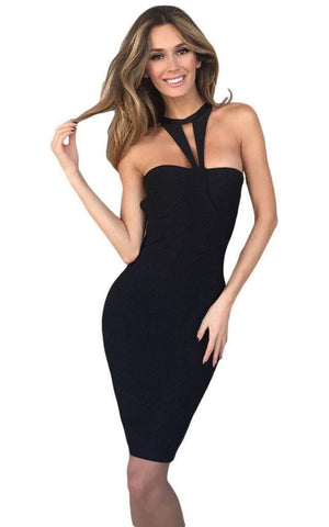 Bandage Keyhole Halter Dress (M)