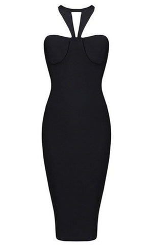 Bandage Keyhole Halter Dress