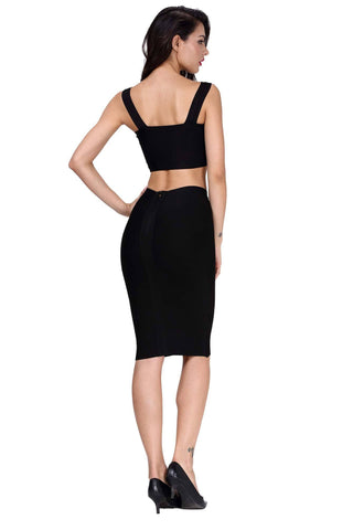 Black Cross Top Bandage Dress
