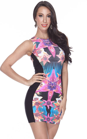 Pink & Black Floral Print Bodycon Bandage Dress