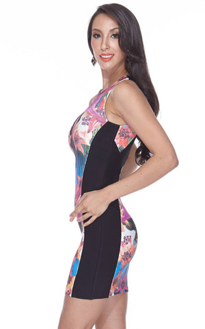 Black Floral Printing Bandage Dress