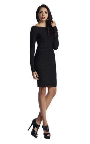 Black Long Sleeve Off Shoulder Bandage Dress (XS, S,)