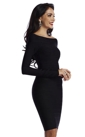 Black Long Sleeve Off Shoulder Bandage Dress (XS, S, M)