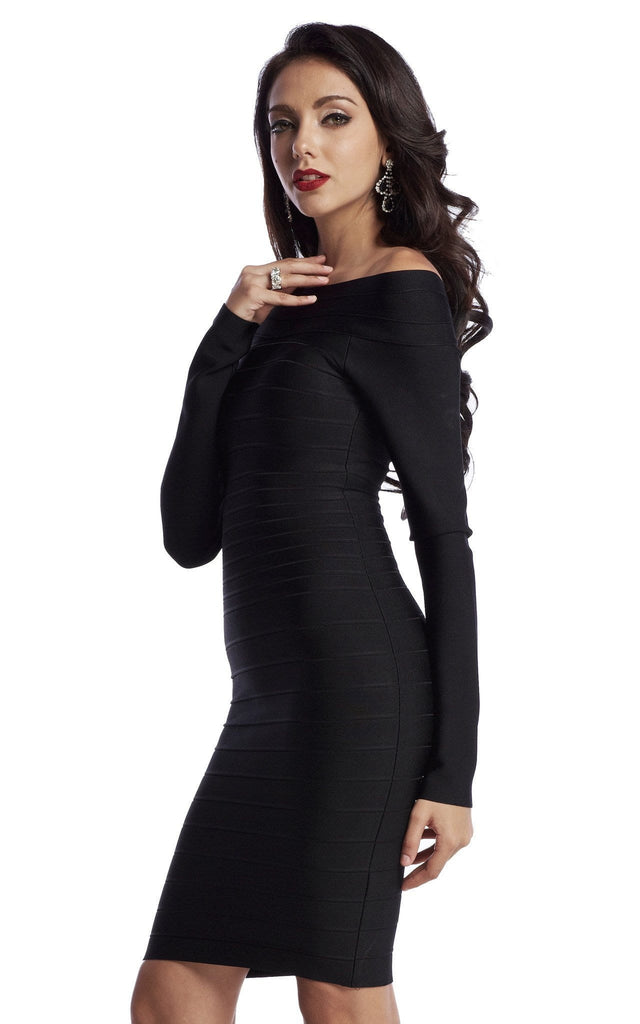 2a3db5580973 ... Black Long Sleeve Off Shoulder Bandage Dress ...