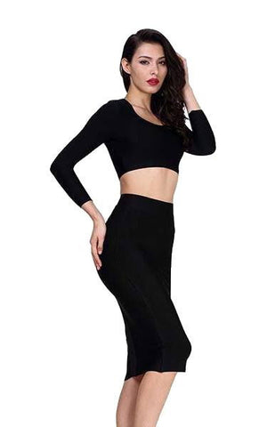 Black Long Sleeve Two Piece Bandage Dress