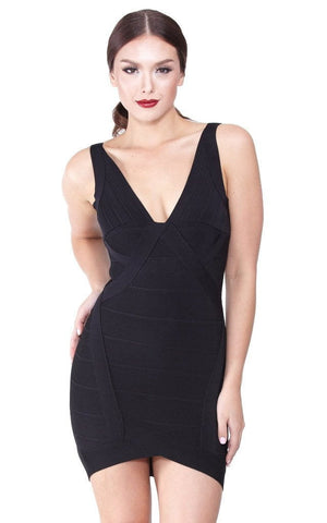 Black Low Neck Bandage Dress (XS, S, M, L)