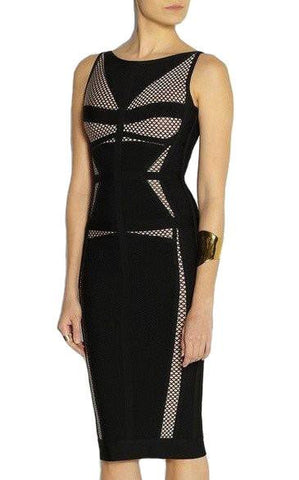 Black Mesh Bandage Dress