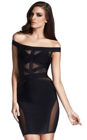 Off Shoulder Black Mesh Bodycon Bandage Dress (XS, S, L)