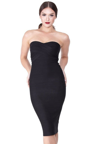 Bandage Black Strapless Pencil Dress (XS, S, M, L)