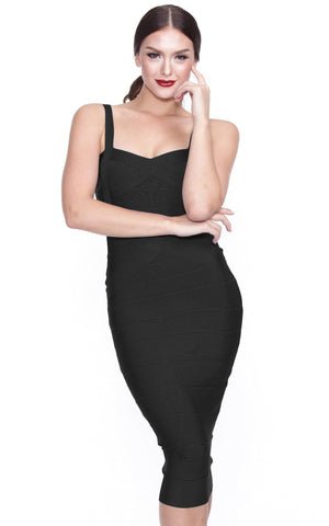 Black Midi Simple One Color Bandage Dress