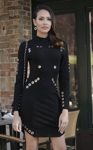 Black Long Sleeve Studded Dress