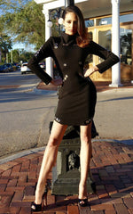 Black Bandage Long Sleeve Studded Dress