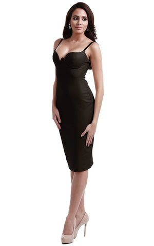 Black Seductive Faux Leather Bodycon Dress
