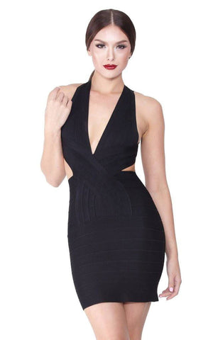Black Sexy Back Cross Bandage Dress