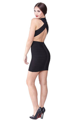 Black Bandage Criss Cross Back Dress