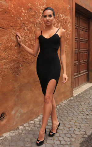 Black Bandage Bodycon Slip Dress