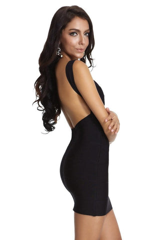 Stylish Black Backless Bandage Dress (XS, S, M, L, XL )