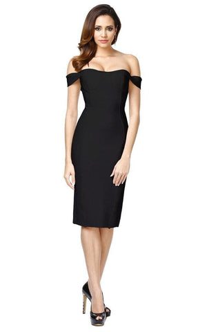 Black Off The Shoulder Bodycon Bandage Dress (MD, L)