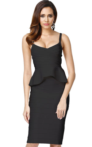 Black Bandage Peplum Two Piece Bodycon Dress (XS, S, M, L)