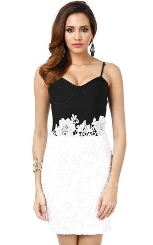 Bandage Black & White Vintage Lace Dress (S)