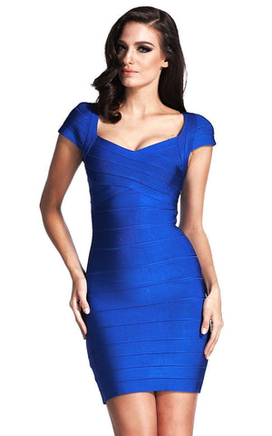 Marilee Blue Cap Sleeve Bandage Dress