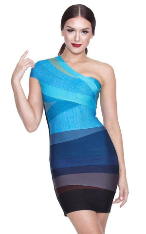 Blue Party Ombre One Shoulder Bandage Dress