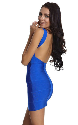 Stylish Bandage Blue Backless Dress (XS, S, M, L)