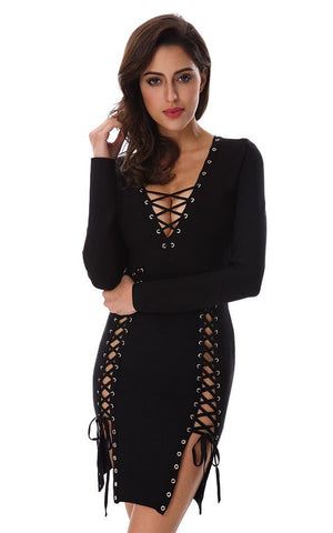 Black Bandage Lace Up Side Dress