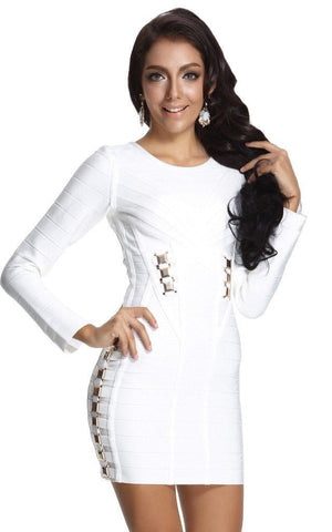 Metal Embellished White Long Sleeve Bandage Dress