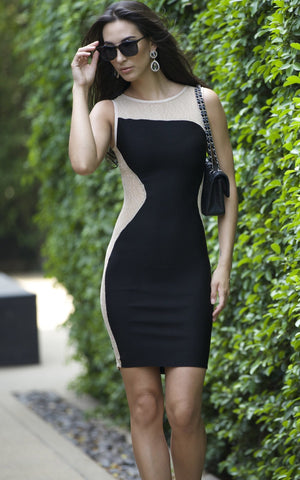 Black And Tan Bodycon Dress with Mesh