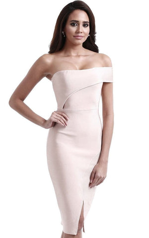 Nude Strapless Asymmetrical Bodycon Bandage Dress (M)
