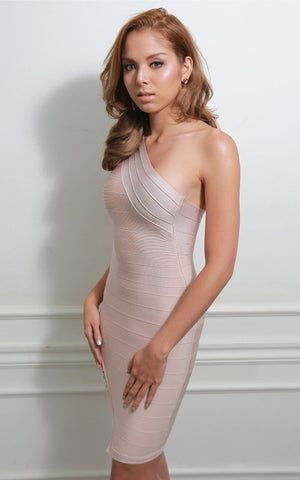 Beige One Shoulder Cage Bandage Dress (L)