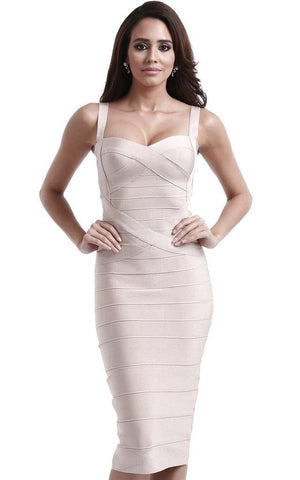 Beige Criss Cross Midi Bandage Dress (XS, S, M, L)