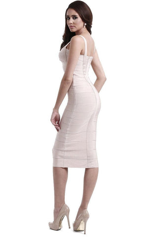 Beige Criss Cross Midi Bandage Dress