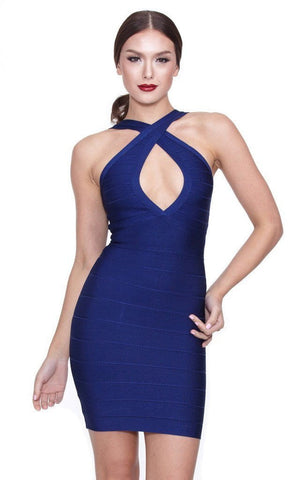 Midnight Blue Cross Front Bandage Dress (SM)