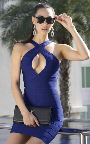 Midnight Blue Cross Front Bandage Dress (XS, S, M, L)