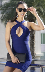 Midnight Blue Cross Front Bandage Dress