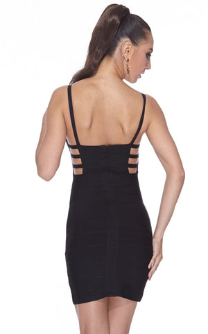 Black Strappy Caged Bodycon Bandage Dress (L)