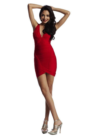 Red Marilyn Deep Plunge Bandage Dress (XS, S, M, L)