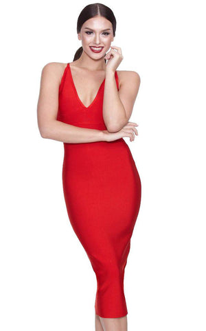 Red Midi Bodycon Bandage Dress With Deep V