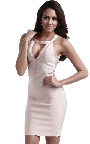 Nude Bandage Bodycon Racer Back Dress (XS, S)