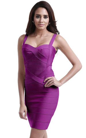 Purple Sweetheart Criss Cross Bandage Dress